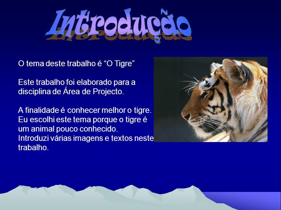 Ordem: Carnívoro Família: Felinos Género: Pantera Espécie: Panthera tigris tigris Estado: Em vias de extinção Unidade Social: Individual Comprimento: 1.4m a 2.8m Cauda: 60cm a 1m Altura dos Quartos: 90cm a 1m Peso: Até 220kg Maturidade Sexual: Fêmea: 3-4 anos; Macho: 4-5 anos Época de Acasalamento: Novembro a Abril Período de Gestação: 95 a 112 dias Número de Crias: 2 a 4 Intervalo de Procriação: 2 anos a 2 anos e meio Dieta: Veado, búfalo, javali, gauro e macaco Longevidade: Até 26 anos em liberdade