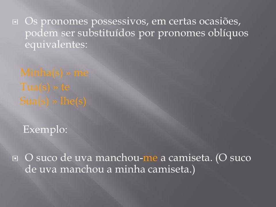 Os pronomes possessivos, em certas ocasiões, podem ser substituídos por pronomes oblíquos equivalentes: Minha(s) » me Tua(s) » te Sua(s) » lhe(s) Exemplo: O suco de uva manchou-me a camiseta.