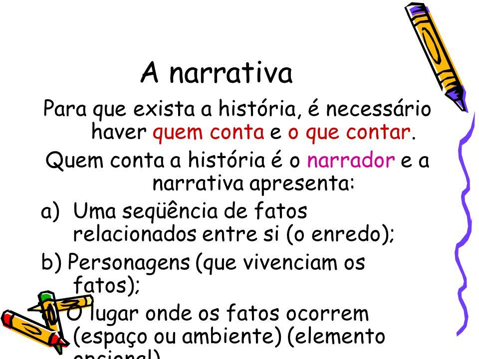 A narrativa Para que exista a história, é necessário haver quem conta e o que contar. Quem conta a história é o narrador e a narrativa apresenta: a)Um