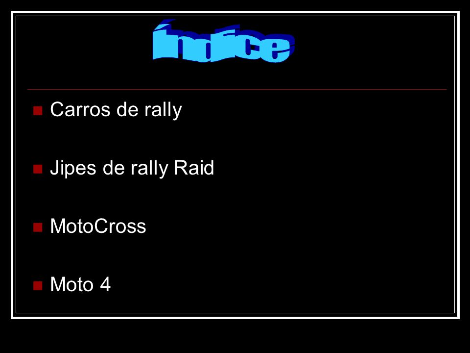 Carros de rally Jipes de rally Raid MotoCross Moto 4