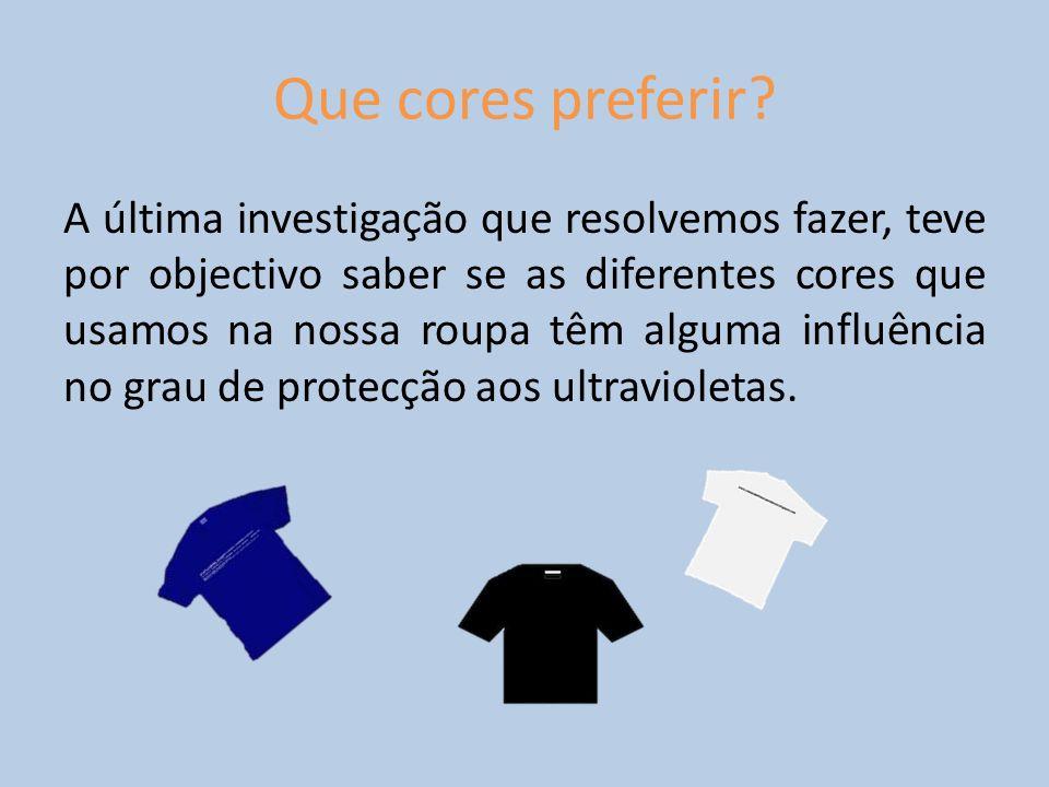 Que cores preferir? A última investigação que resolvemos fazer, teve por objectivo saber se as diferentes cores que usamos na nossa roupa têm alguma i