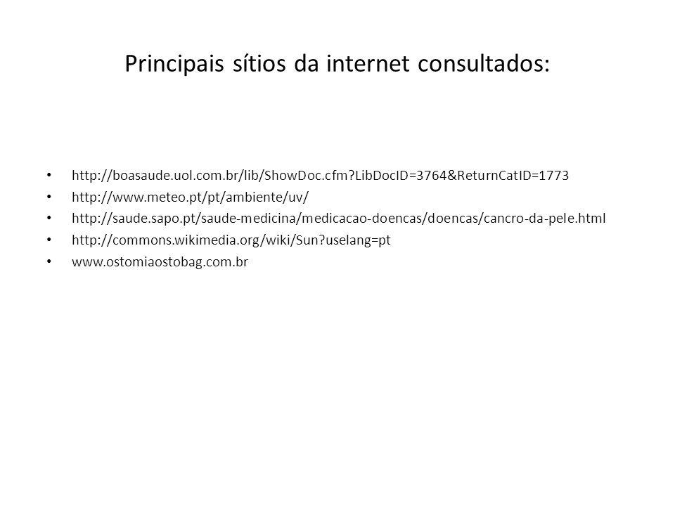Principais sítios da internet consultados: http://boasaude.uol.com.br/lib/ShowDoc.cfm?LibDocID=3764&ReturnCatID=1773 http://www.meteo.pt/pt/ambiente/uv/ http://saude.sapo.pt/saude-medicina/medicacao-doencas/doencas/cancro-da-pele.html http://commons.wikimedia.org/wiki/Sun?uselang=pt www.ostomiaostobag.com.br