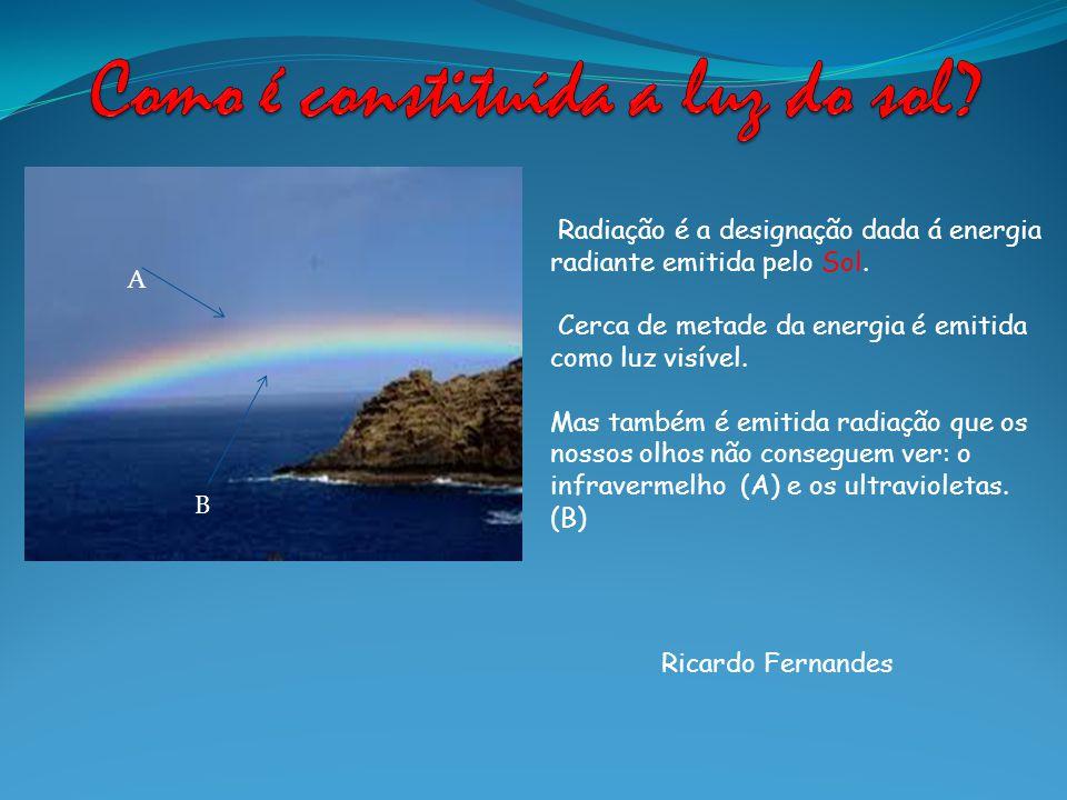 Ricardo Fernandes Radiação é a designação dada á energia radiante emitida pelo Sol. Cerca de metade da energia é emitida como luz visível. Mas também