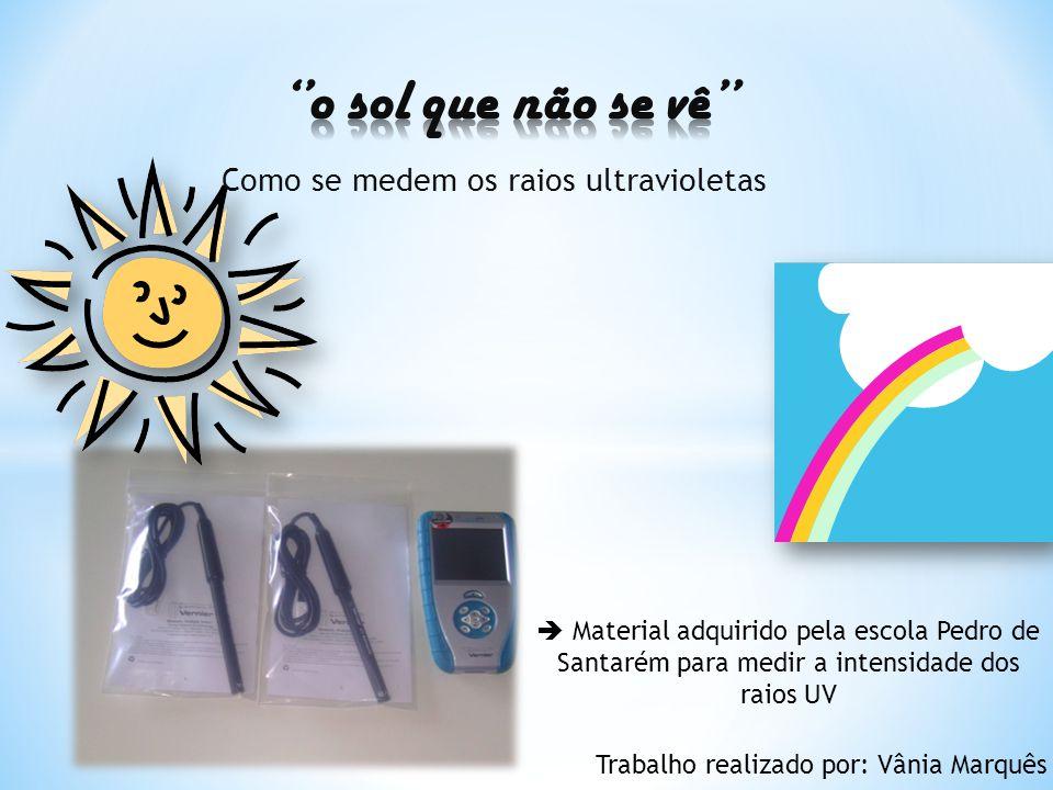 Como se medem os raios ultravioletas Material adquirido pela escola Pedro de Santarém para medir a intensidade dos raios UV Trabalho realizado por: Vânia Marquês