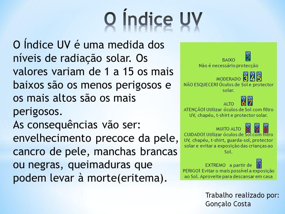 O Índice UV é uma medida dos níveis de radiação solar. Os valores variam de 1 a 15 os mais baixos são os menos perigosos e os mais altos são os mais p