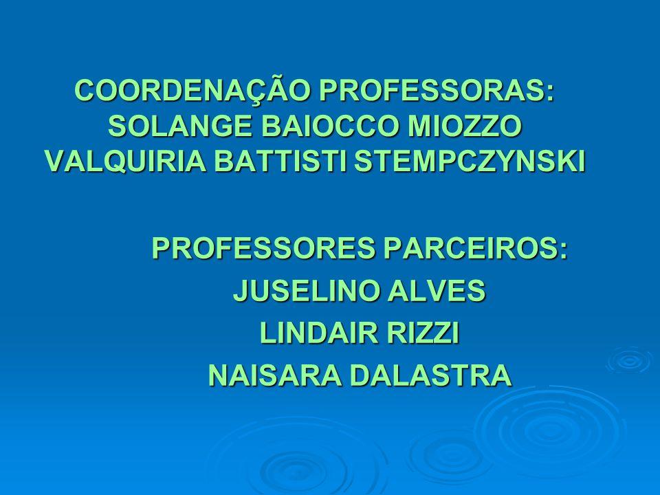 COORDENAÇÃO PROFESSORAS: SOLANGE BAIOCCO MIOZZO VALQUIRIA BATTISTI STEMPCZYNSKI PROFESSORES PARCEIROS: JUSELINO ALVES LINDAIR RIZZI NAISARA DALASTRA