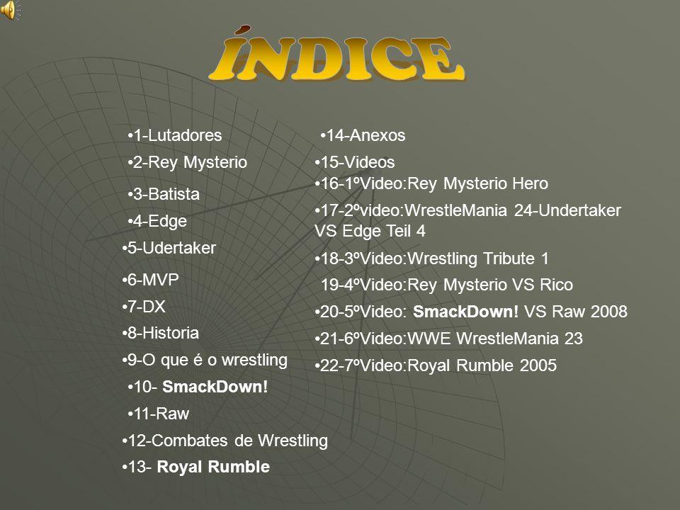 1-Lutadores 2-Rey Mysterio 3-Batista 4-Edge 5-Udertaker 6-MVP 7-DX 8-Historia 9-O que é o wrestling 10- SmackDown! 11-Raw 12-Combates de Wrestling 13-