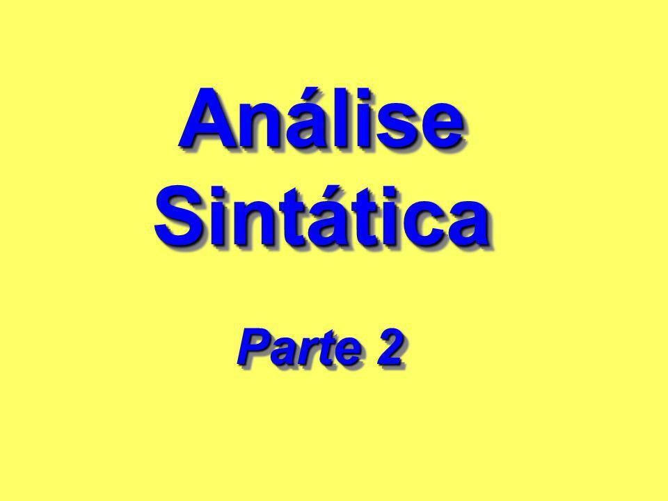 Análise Sintática Análise Sintática Parte 2 Parte 2