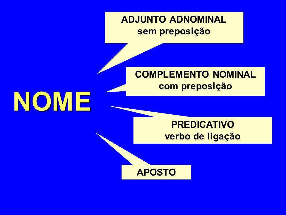 NOME ADJUNTO ADNOMINAL sem preposição COMPLEMENTO NOMINAL com preposição PREDICATIVO verbo de ligação APOSTO