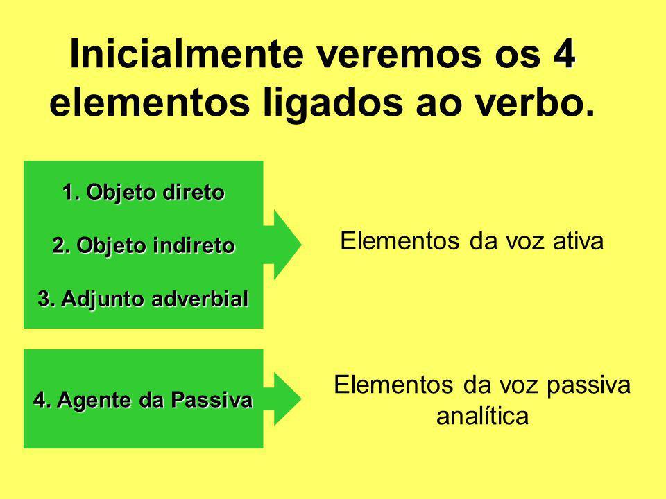 4 Inicialmente veremos os 4 elementos ligados ao verbo. 1. Objeto direto 2. Objeto indireto 3. Adjunto adverbial 4. Agente da Passiva Elementos da voz