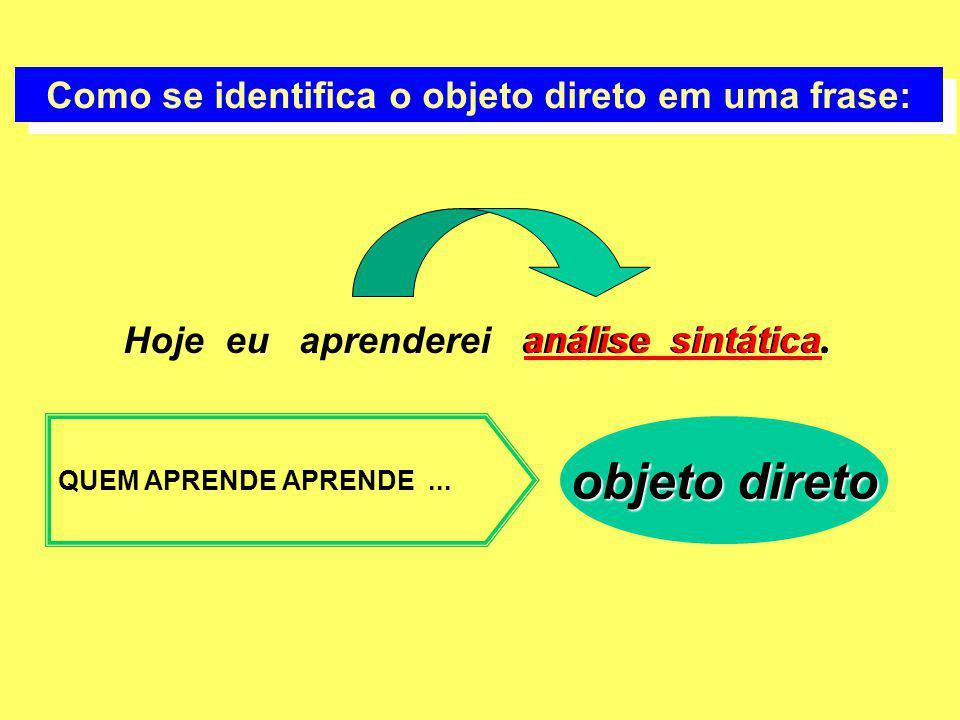 Como se identifica o objeto direto em uma frase: Hoje eu aprenderei análise sintática. QUEM APRENDE APRENDE... objeto direto análise sintática.