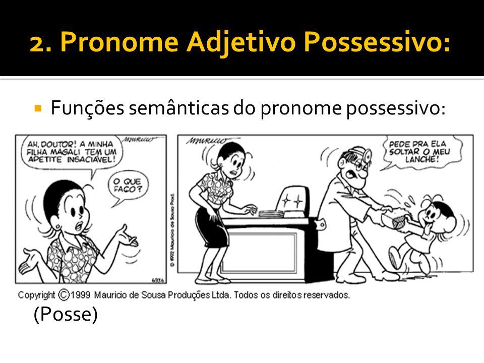 2. Pronome Adjetivo Possessivo: Funções semânticas do pronome possessivo: (Posse)