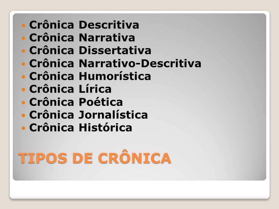 TIPOS DE CRÔNICA Crônica Descritiva Crônica Narrativa Crônica Dissertativa Crônica Narrativo-Descritiva Crônica Humorística Crônica Lírica Crônica Poé