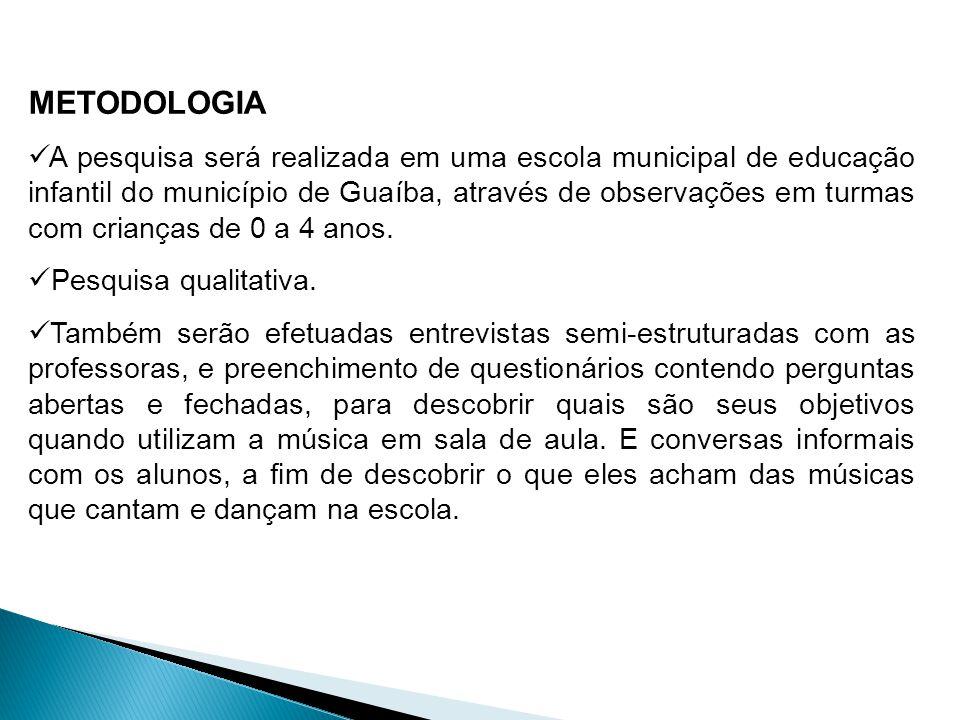 METODOLOGIA A pesquisa será realizada em uma escola municipal de educação infantil do município de Guaíba, através de observações em turmas com crianç