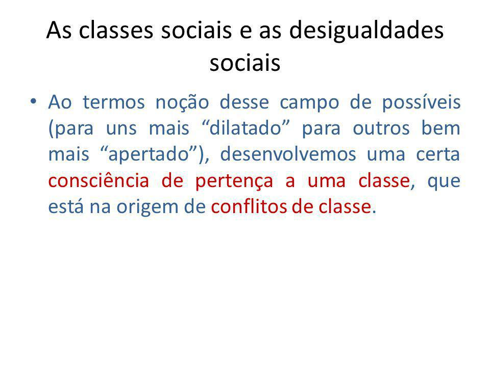As classes sociais e as desigualdades sociais Ao termos noção desse campo de possíveis (para uns mais dilatado para outros bem mais apertado), desenvo