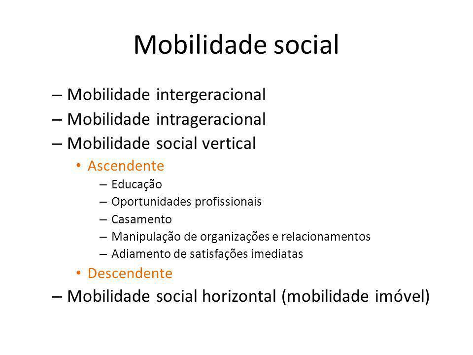 Mobilidade social – Mobilidade intergeracional – Mobilidade intrageracional – Mobilidade social vertical Ascendente – Educação – Oportunidades profiss
