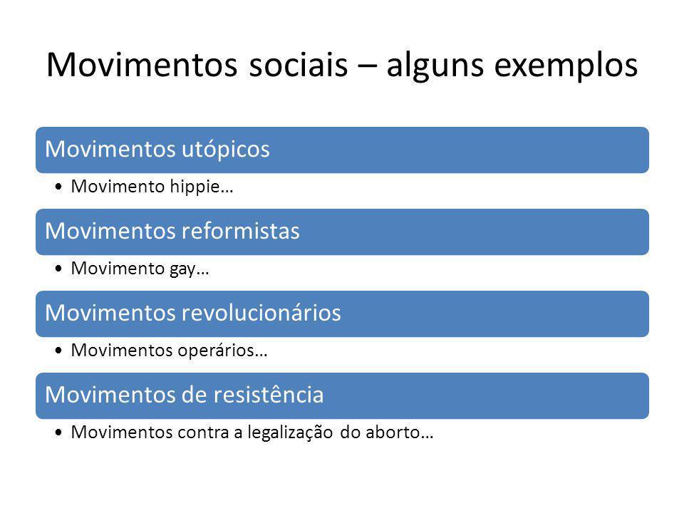 Movimentos sociais – alguns exemplos Movimentos utópicos Movimento hippie… Movimentos reformistas Movimento gay… Movimentos revolucionários Movimentos