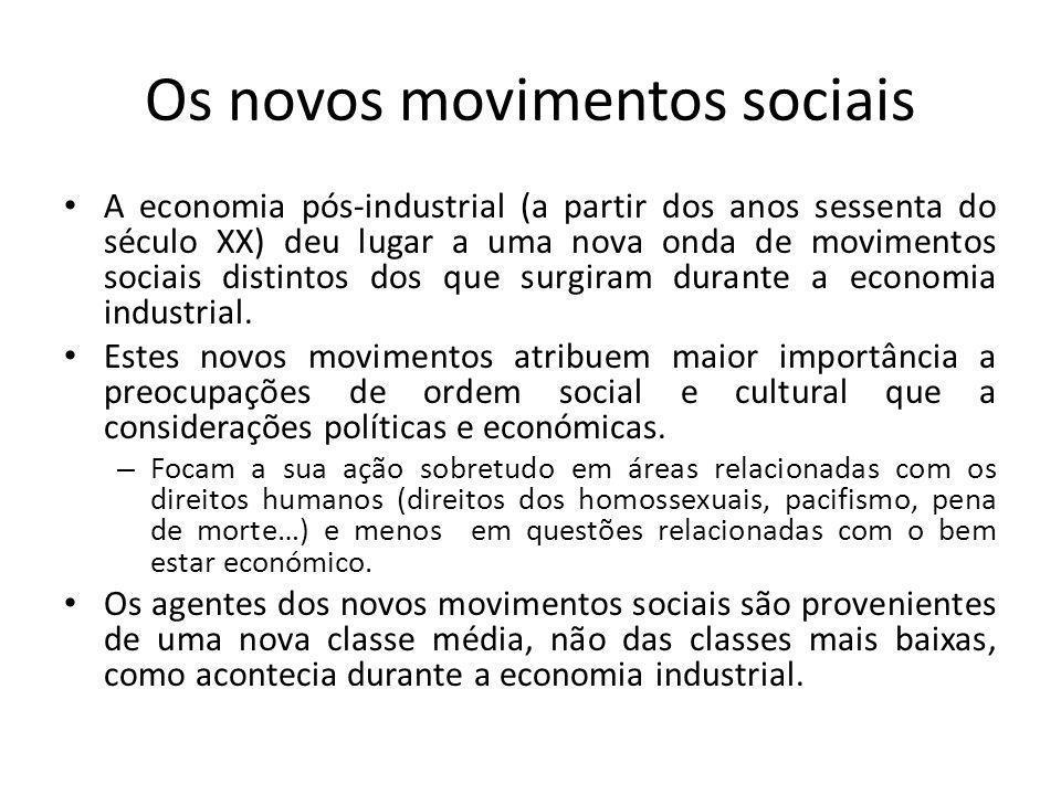 Os novos movimentos sociais A economia pós-industrial (a partir dos anos sessenta do século XX) deu lugar a uma nova onda de movimentos sociais distin