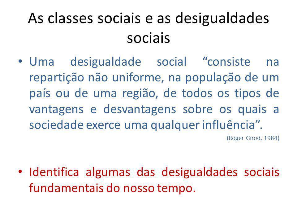As classes sociais e as desigualdades sociais Uma desigualdade social consiste na repartição não uniforme, na população de um país ou de uma região, d