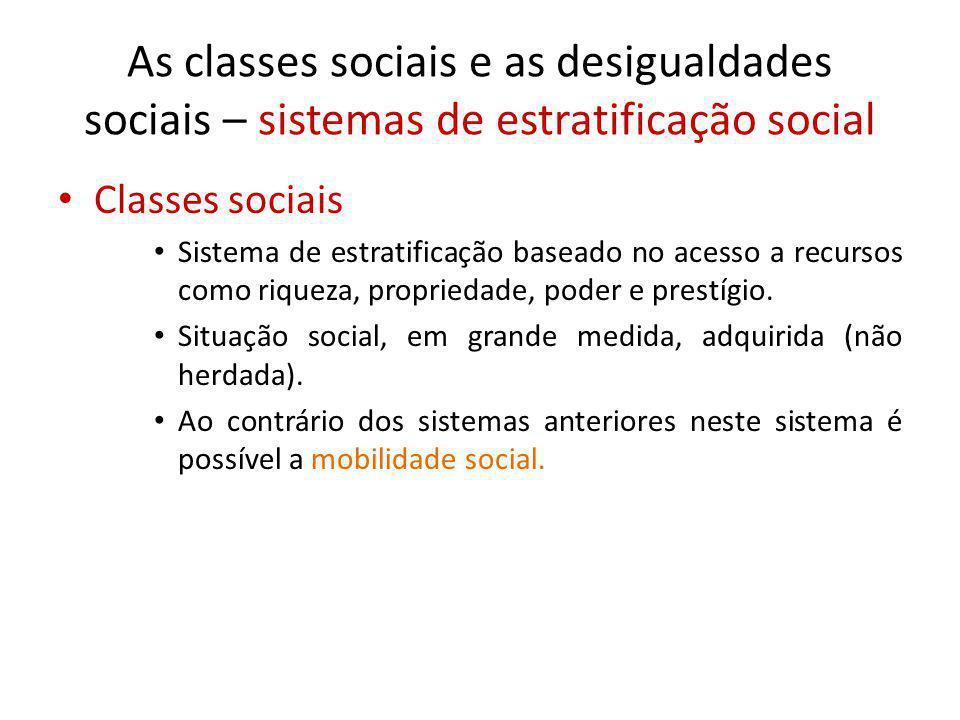As classes sociais e as desigualdades sociais – sistemas de estratificação social Classes sociais Sistema de estratificação baseado no acesso a recurs