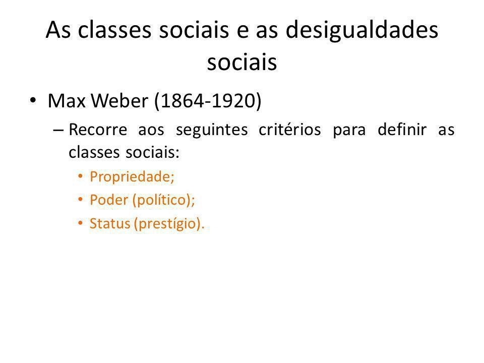 As classes sociais e as desigualdades sociais Max Weber (1864-1920) – Recorre aos seguintes critérios para definir as classes sociais: Propriedade; Po