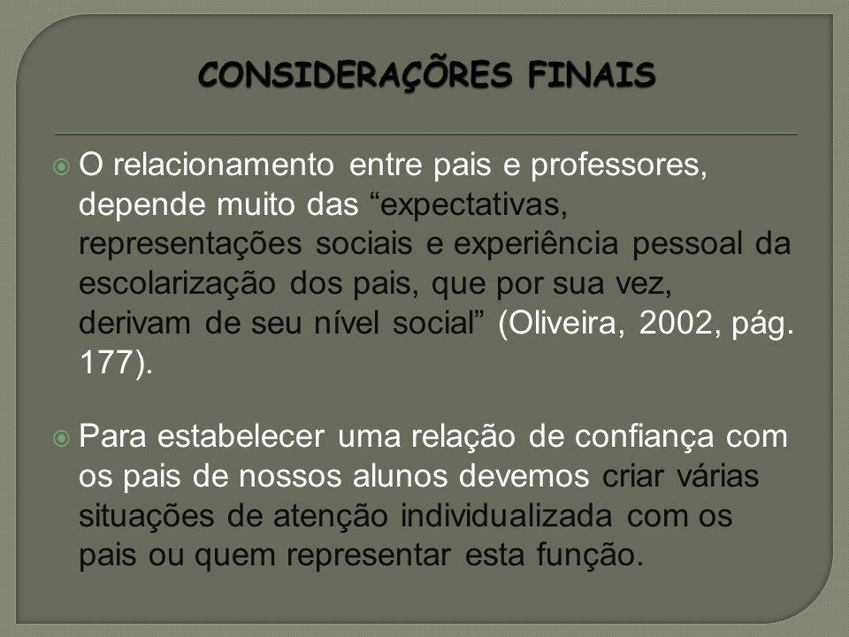 O relacionamento entre pais e professores, depende muito das expectativas, representações sociais e experiência pessoal da escolarização dos pais, que por sua vez, derivam de seu nível social (Oliveira, 2002, pág.