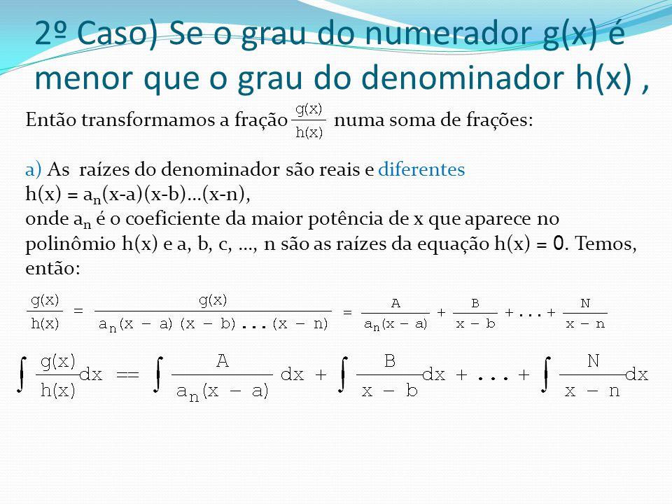 2º Caso) Se o grau do numerador g(x) é menor que o grau do denominador h(x), Então transformamos a fração numa soma de frações: a) As raízes do denominador são reais e diferentes h(x) = a n (x-a)(x-b)...(x-n), onde a n é o coeficiente da maior potência de x que aparece no polinômio h(x) e a, b, c,..., n são as raízes da equação h(x) = 0.