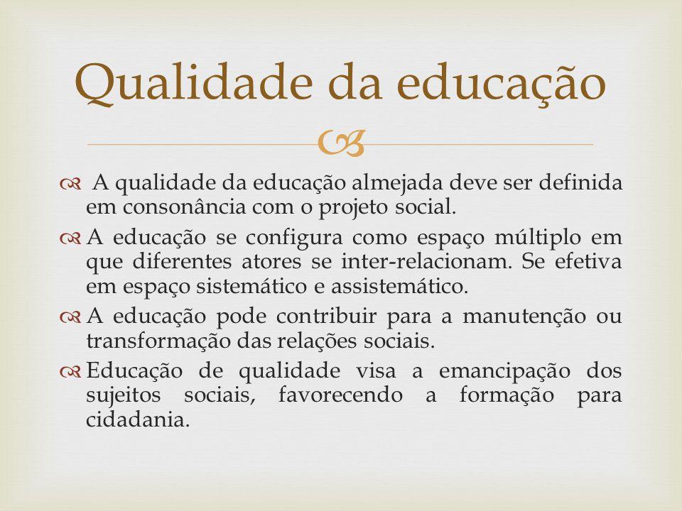 A qualidade da educação almejada deve ser definida em consonância com o projeto social.