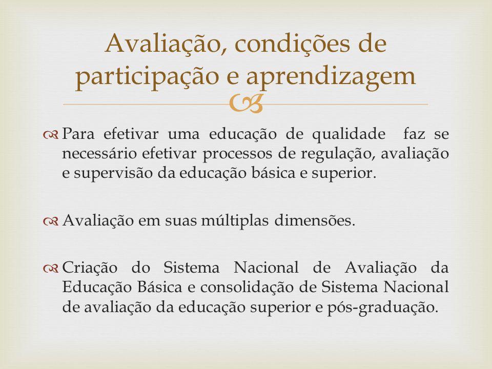 Para efetivar uma educação de qualidade faz se necessário efetivar processos de regulação, avaliação e supervisão da educação básica e superior.