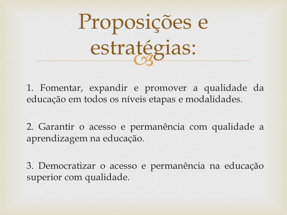 1.Fomentar, expandir e promover a qualidade da educação em todos os níveis etapas e modalidades.