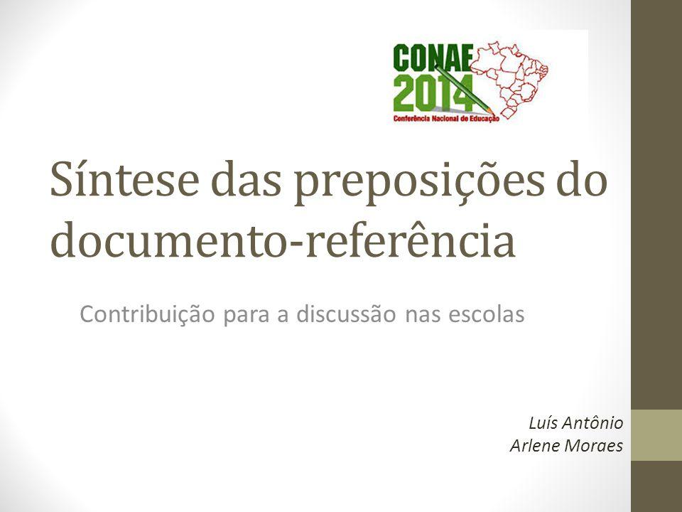 Síntese das preposições do documento-referência Contribuição para a discussão nas escolas Luís Antônio Arlene Moraes