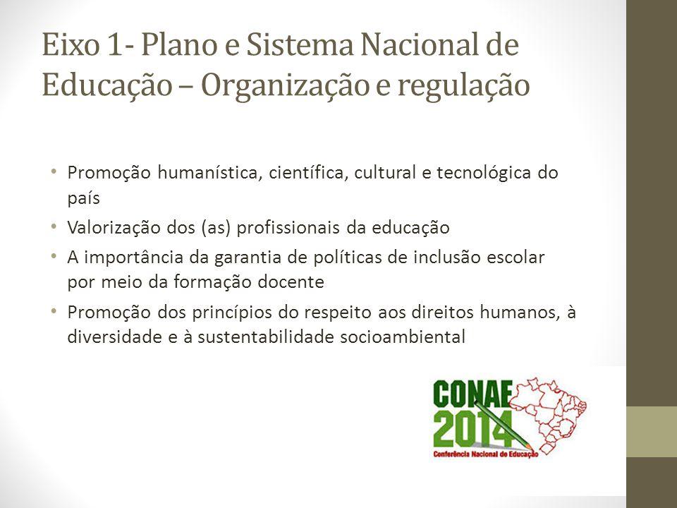 Eixo 1- Plano e Sistema Nacional de Educação – Organização e regulação Promoção humanística, científica, cultural e tecnológica do país Valorização do
