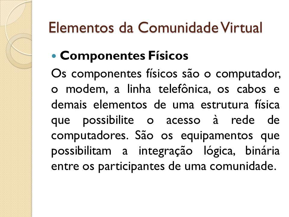 Elementos da Comunidade Virtual Componentes Físicos Os componentes físicos são o computador, o modem, a linha telefônica, os cabos e demais elementos de uma estrutura física que possibilite o acesso à rede de computadores.