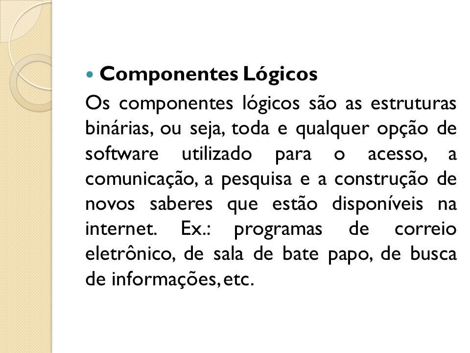 Componentes Lógicos Os componentes lógicos são as estruturas binárias, ou seja, toda e qualquer opção de software utilizado para o acesso, a comunicação, a pesquisa e a construção de novos saberes que estão disponíveis na internet.