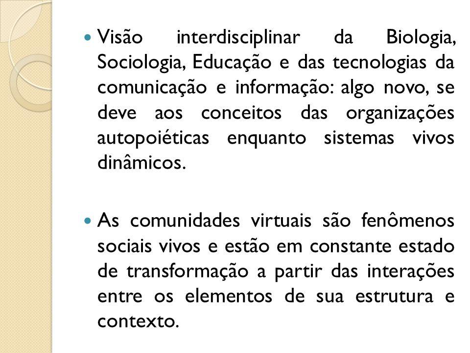 Visão interdisciplinar da Biologia, Sociologia, Educação e das tecnologias da comunicação e informação: algo novo, se deve aos conceitos das organizaç
