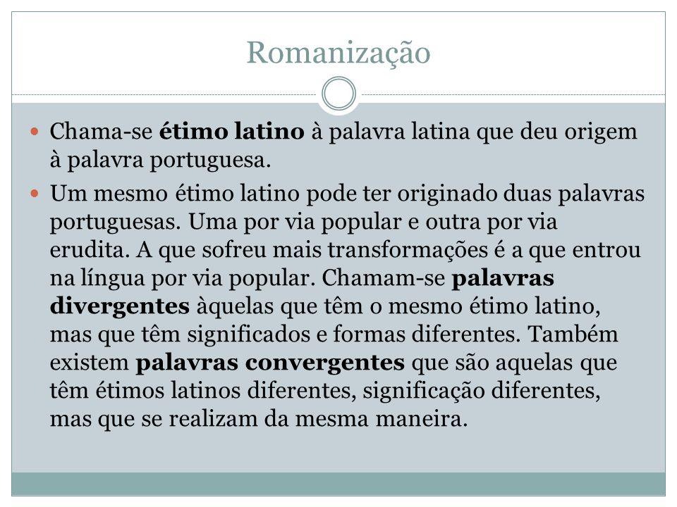 Chama-se étimo latino à palavra latina que deu origem à palavra portuguesa. Um mesmo étimo latino pode ter originado duas palavras portuguesas. Uma po