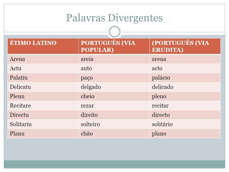 Palavras Divergentes ÉTIMO LATINOPORTUGUÊS (VIA POPULAR) (PORTUGUÊS (VIA ERUDITA) Arenaareiaarena Actuautoacto Palatiupaçopalácio Delicatudelgadodelic