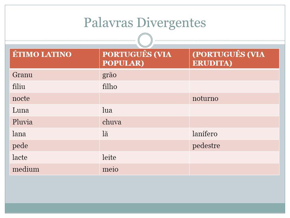 Palavras Divergentes ÉTIMO LATINOPORTUGUÊS (VIA POPULAR) (PORTUGUÊS (VIA ERUDITA) Granugrão filiufilho noctenoturno Lunalua Pluviachuva lanalãlanífero