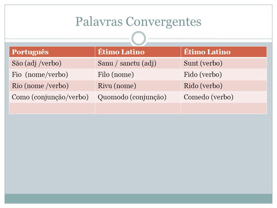 Palavras Convergentes PortuguêsÉtimo Latino São (adj /verbo)Sanu / sanctu (adj)Sunt (verbo) Fio (nome/verbo)Filo (nome)Fido (verbo) Rio (nome /verbo)R