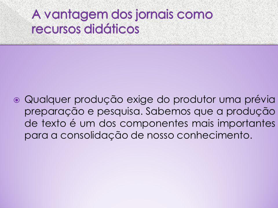 Qualquer produção exige do produtor uma prévia preparação e pesquisa. Sabemos que a produção de texto é um dos componentes mais importantes para a con