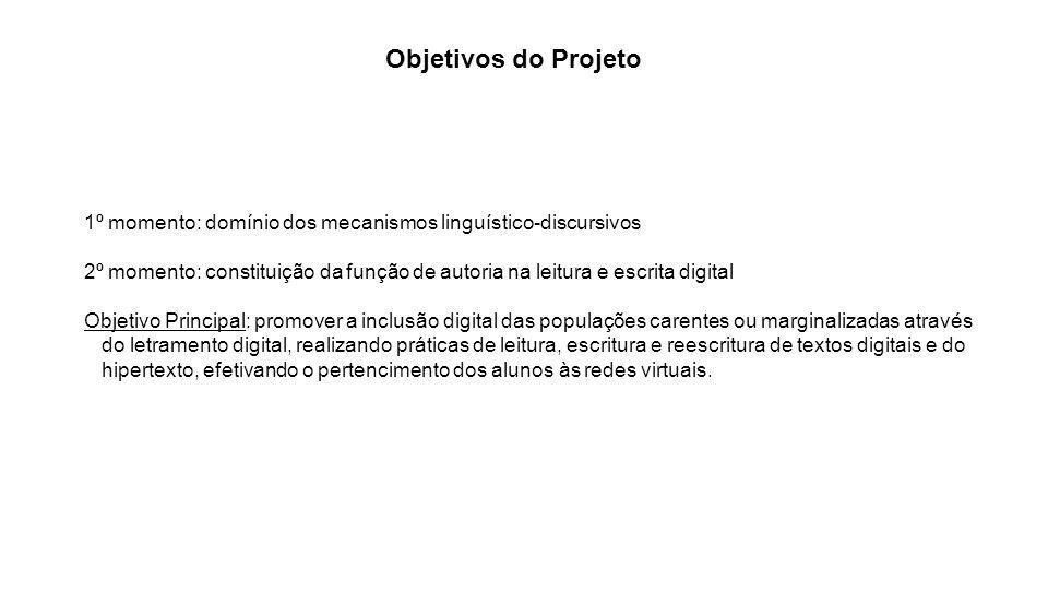 Objetivos do Projeto 1º momento: domínio dos mecanismos linguístico-discursivos 2º momento: constituição da função de autoria na leitura e escrita dig