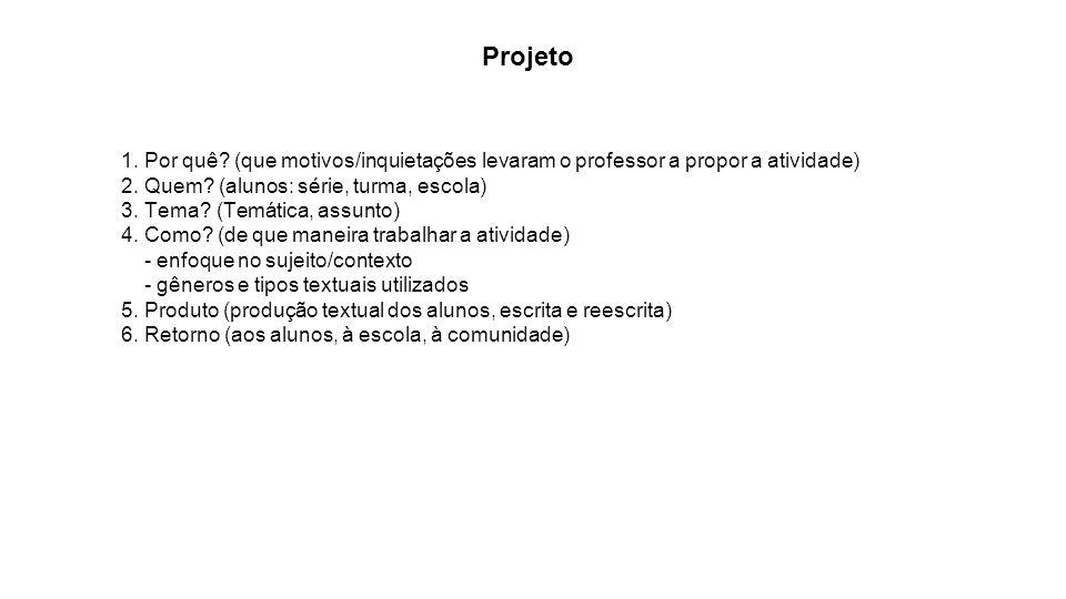 Projeto 1. Por quê? (que motivos/inquietações levaram o professor a propor a atividade) 2. Quem? (alunos: série, turma, escola) 3. Tema? (Temática, as