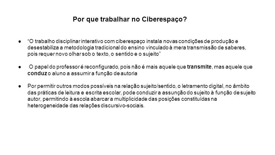 Por que trabalhar no Ciberespaço? O trabalho disciplinar interativo com ciberespaço instala novas condições de produção e desestabiliza a metodologia