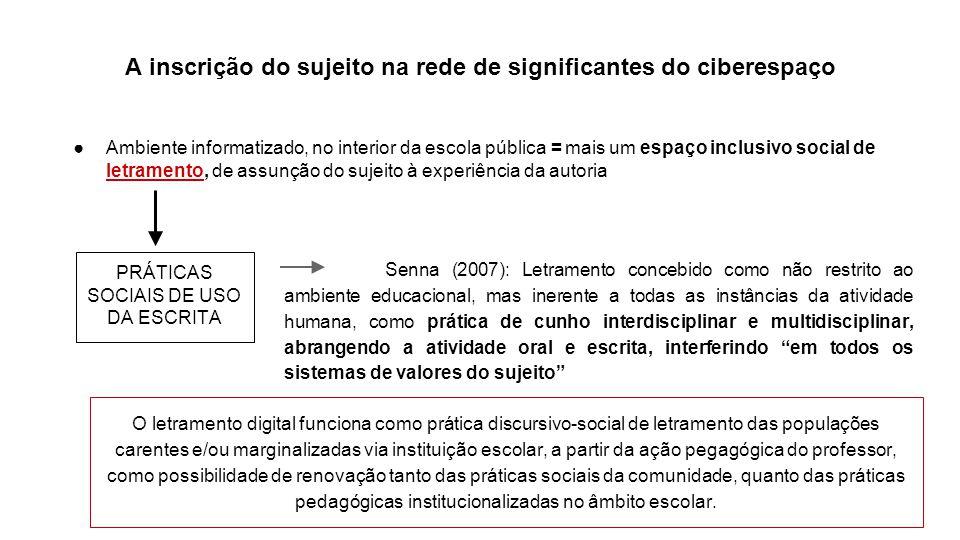 A inscrição do sujeito na rede de significantes do ciberespaço Ambiente informatizado, no interior da escola pública = mais um espaço inclusivo social