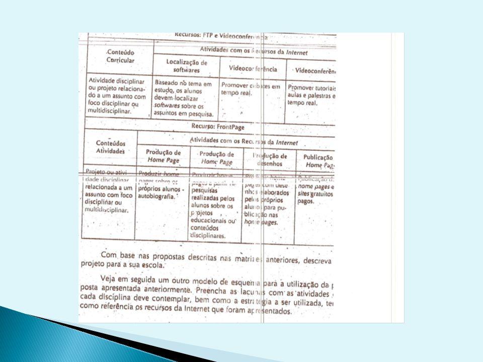 Exemplo de proposta esquemática para a elaboração e construção de um projeto temático utilizando recursos da internet como ferramenta pedagógica.