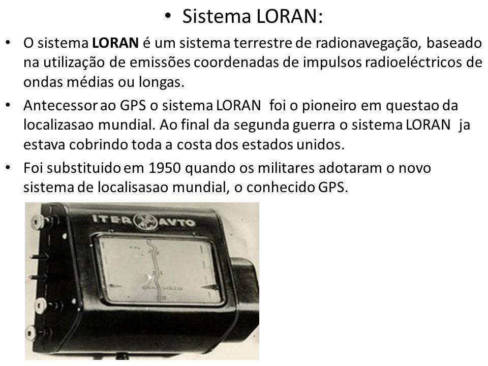 Sistema LORAN: O sistema LORAN é um sistema terrestre de radionavegação, baseado na utilização de emissões coordenadas de impulsos radioeléctricos de