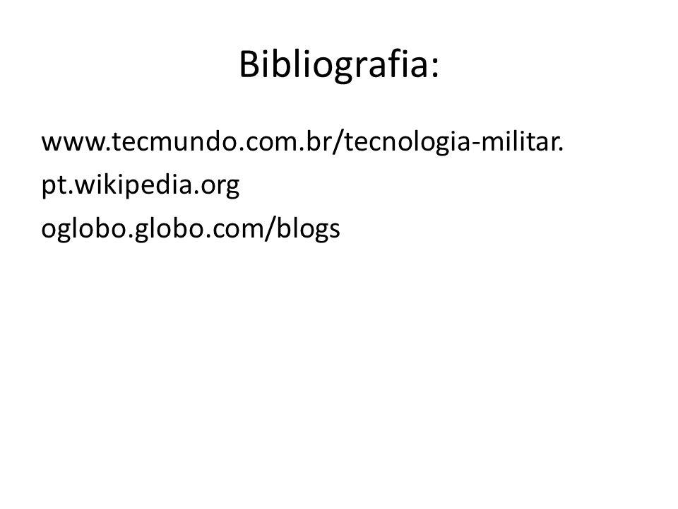Bibliografia: www.tecmundo.com.br/tecnologia-militar. pt.wikipedia.org oglobo.globo.com/blogs