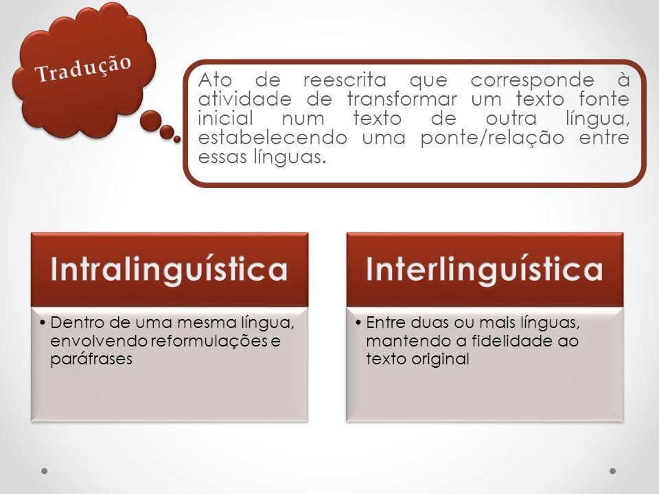 Ato de reescrita que corresponde à atividade de transformar um texto fonte inicial num texto de outra língua, estabelecendo uma ponte/relação entre essas línguas.