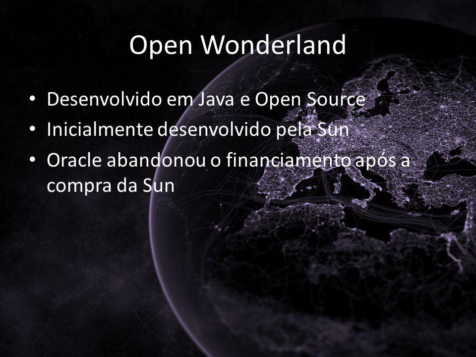 Open Wonderland Desenvolvido em Java e Open Source Inicialmente desenvolvido pela Sun Oracle abandonou o financiamento após a compra da Sun