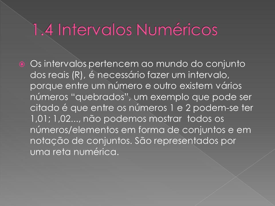 Os intervalos pertencem ao mundo do conjunto dos reais (R), é necessário fazer um intervalo, porque entre um número e outro existem vários números que